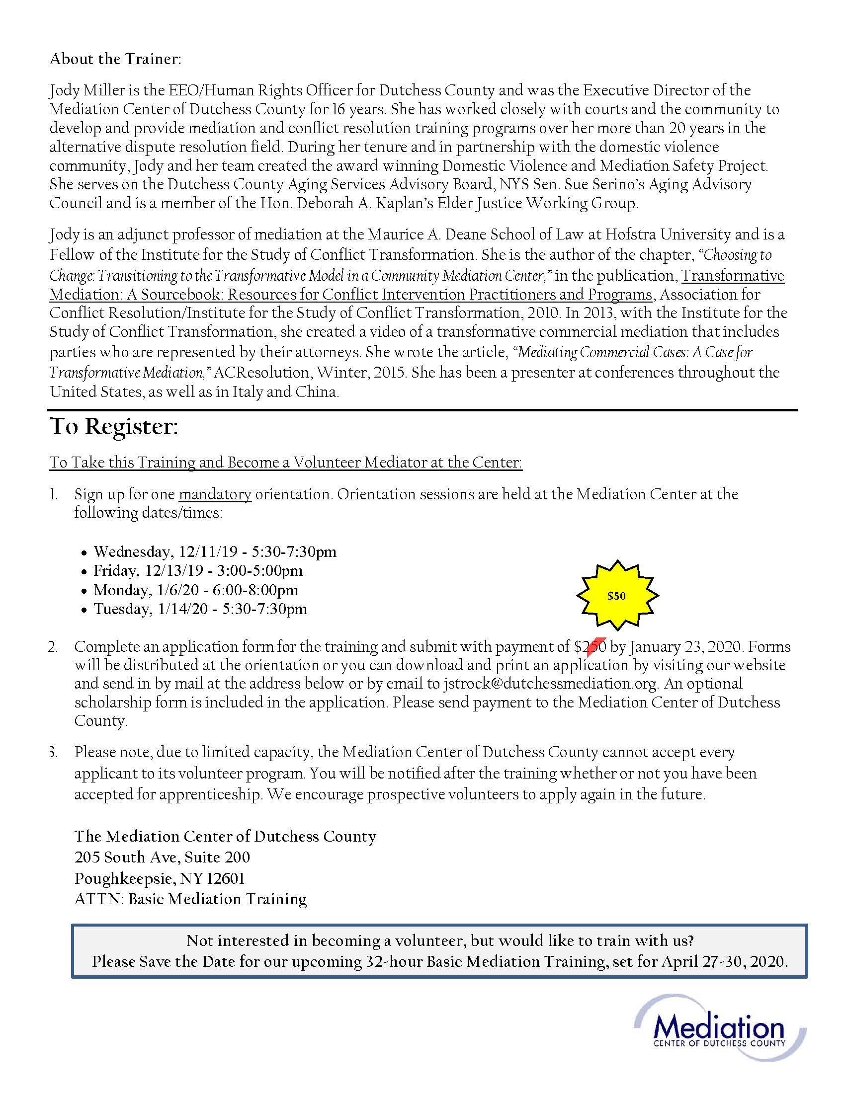 2020 Basic Mediation Flyer Page 2
