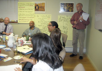PHS-staff-and-Bill-Valente-in-peer-mediation-planning-session