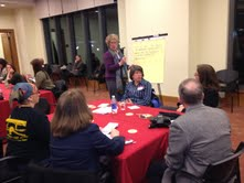 kathy facilitating group discussion at roundtable